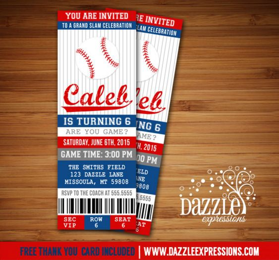 Printable Baseball Ticket Birthday Invitation Sports Ticket - free ticket invitation template