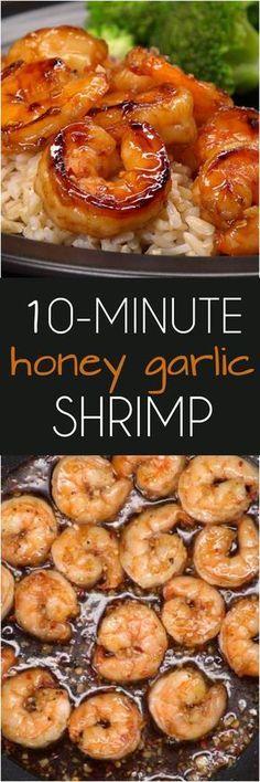 10-Minute Honey Garlic Shrimp #seafooddishes