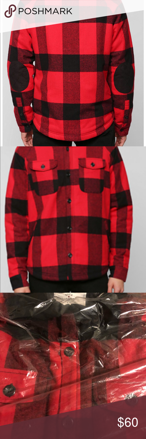 Flannel jacket with elbow patches  Brand new Your Neighbors Flannel Shirt Jacket NWT  My Posh Picks