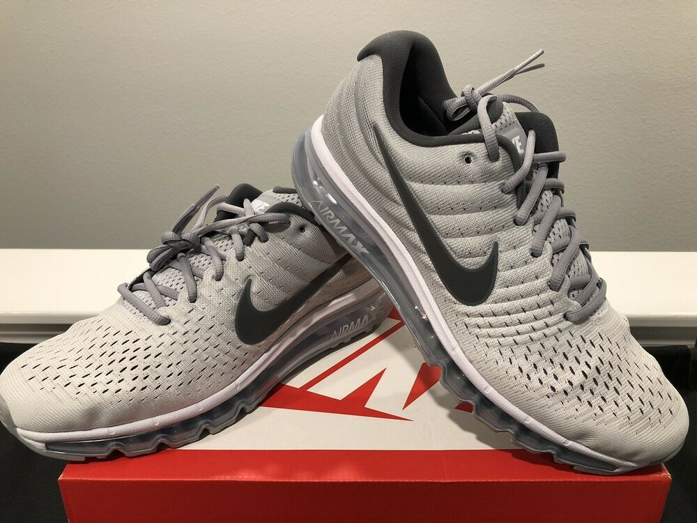 NIKE Men's Air Max 2017 Running Shoes White Wolf Grey 849559