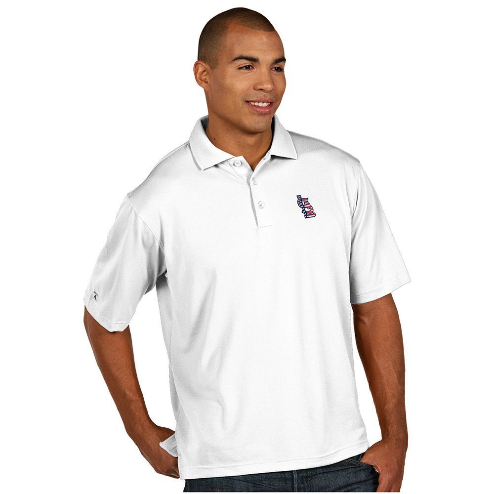 St. Louis Cardinals MLB Pique Xtra Lite Mens Polo White Stars and Srip