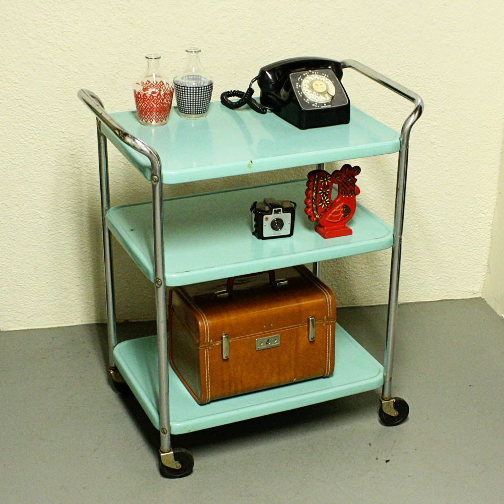 Vintage metal cart - serving cart - kitchen cart - Cosco - aqua blue ...