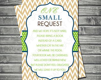Bring A Book Insert Card - Instead Of A Card One Small Request Chalkboard Blue Yellow Book Request Instant Download DIY Insert PDF (Item #2)