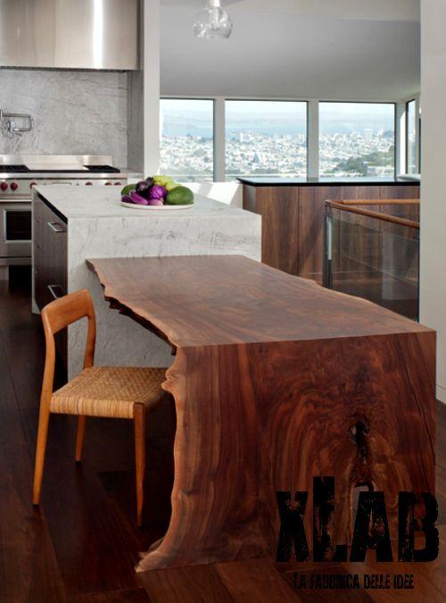 Top in legno per isola cucina con taglio tronco naturale - XLAB ...