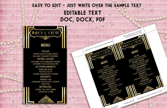 Printable Menu Template -  Art Deco Great Gatsby Inspired - Black and Gold - EDITABLE TEXT - Microsoft® Word Format and PDF