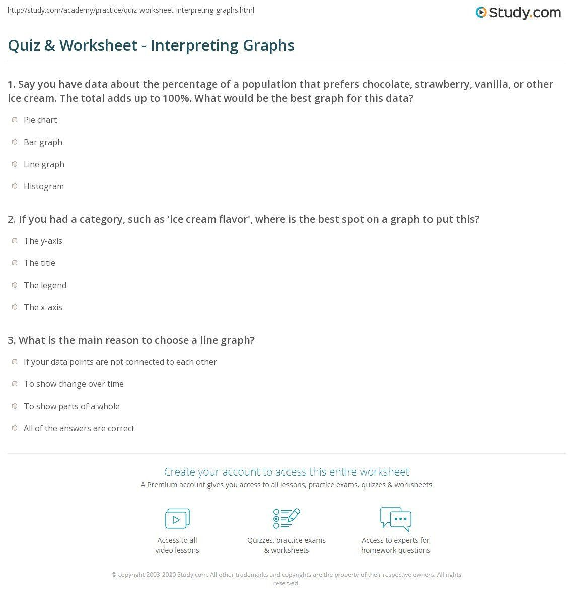 Interpreting Graphs Worksheet Science Interpreting Graphs