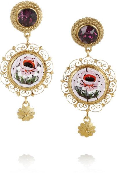 67f80be17 Dolce & Gabbana Multicolor Gold Plated Swarovski Crystal Clip Earrings