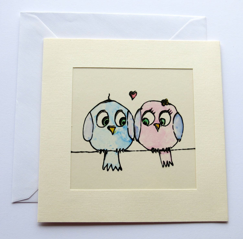 Wedding Card Anniversary Card Congratulations Card Bird Card Blank Card Hand Painted Engagement Card U Valentines Cards Anniversary Cards Congratulations Card