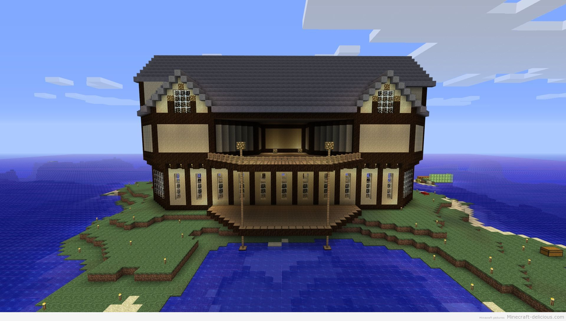 Epic Minecraft house done in the style of a treehouse ...