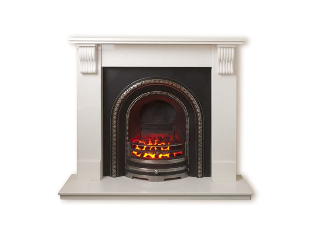 The Tewkesbury Suite In Sparkly White With Bedford Back Panel Set And Electric Fire 54 Inch Electric Fires Tewkesbury Electricity