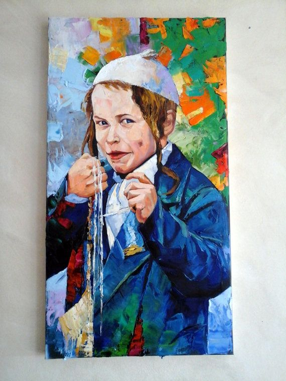 Jewish child oil painting jewish art large painting for Israeli artists oil paintings