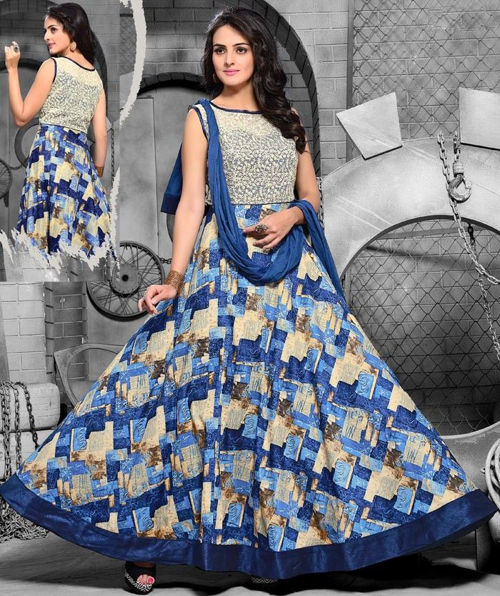 #Multicolor Chiffon #Churidar #Anarkali #Suit with Dupatta