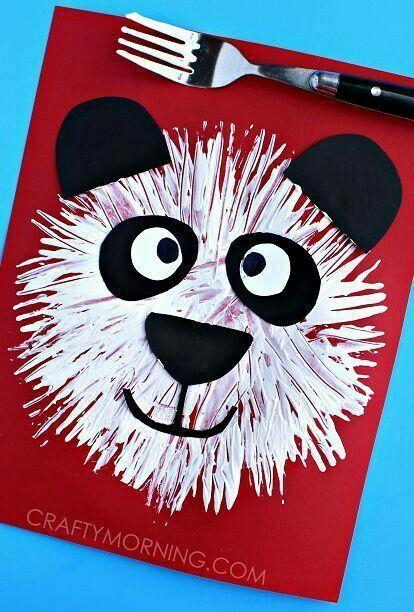 Fork Print Panda Bear Kids Crafts  Sly Morningbear