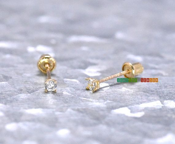 Soild Gold Earrings 2mm Cubic Zirconia Back 14k Toddlers Childrens Womens Stud