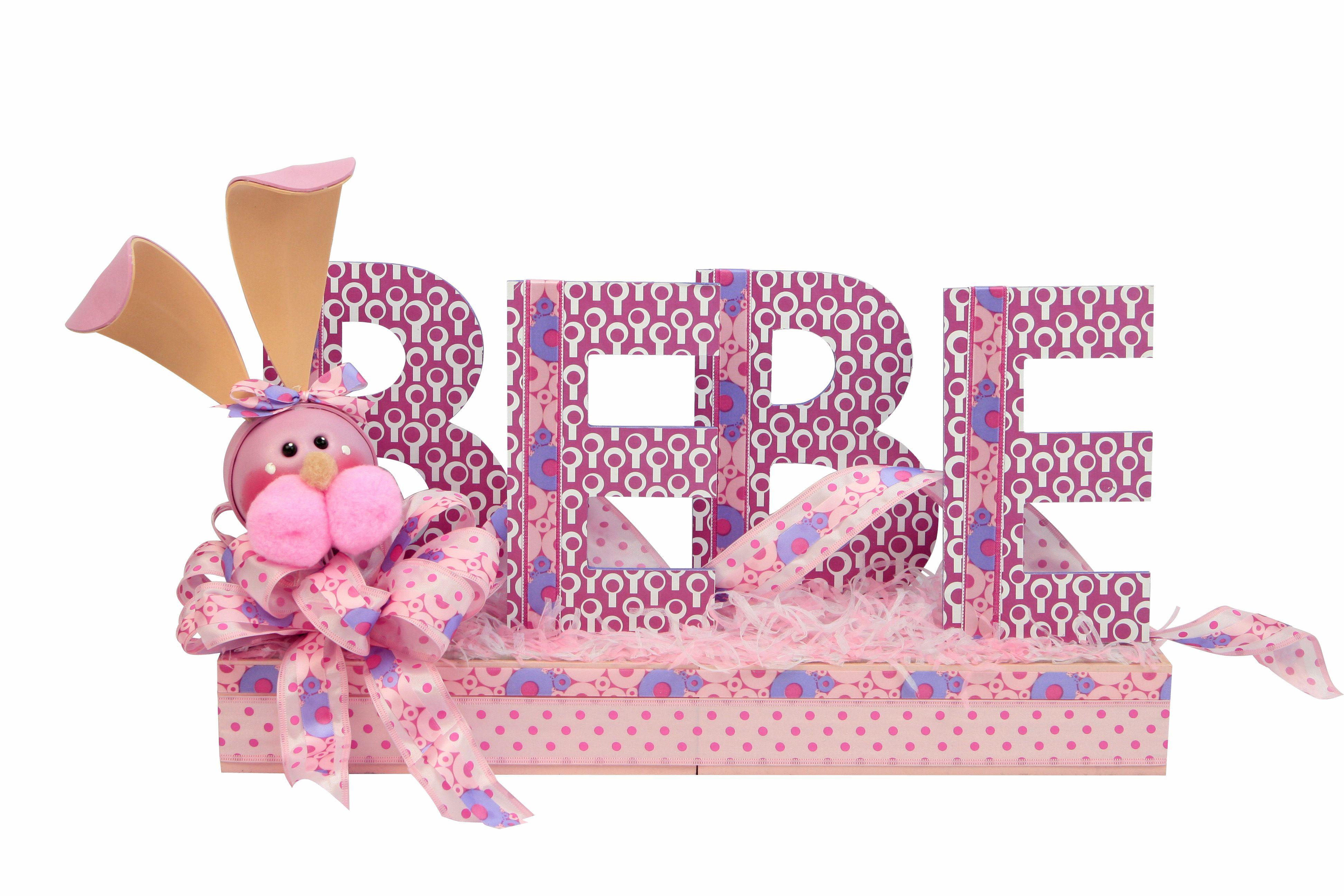 Letrero de bebe en color rosa letras de madera con - Letras de madera ...