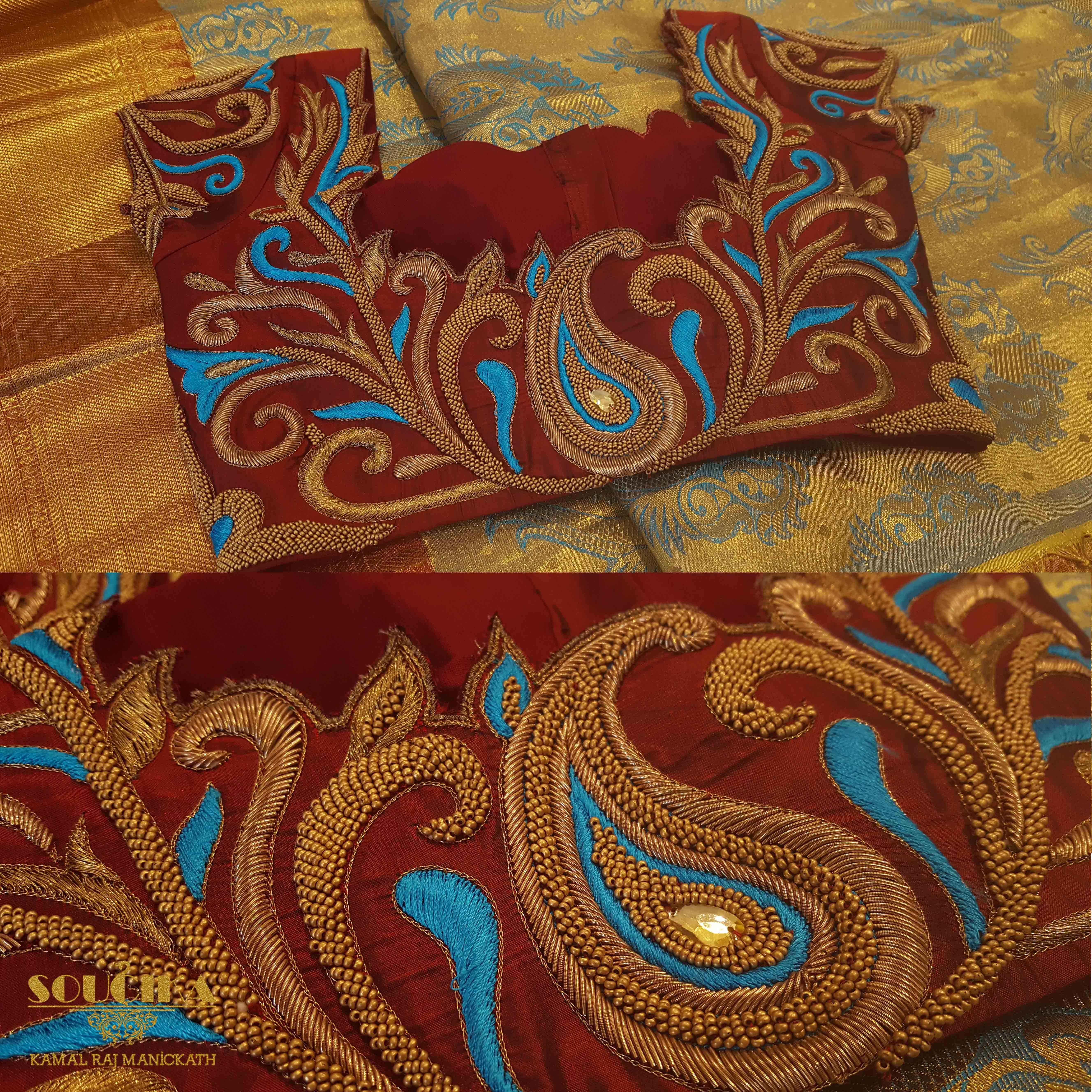 Sareeblouse soucika bangalore designersaree embroidery maggam work silk saree blouse designs by soucika south india fashion bankloansurffo Images
