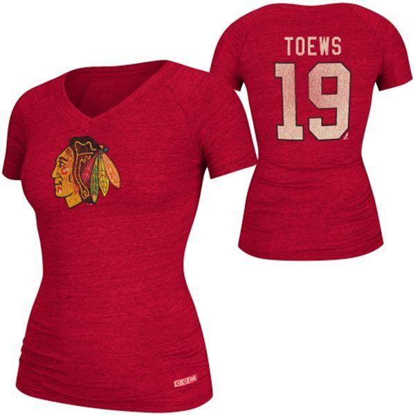 3a840f2c366 CCM Jonathan Toews Chicago Blackhawks Ladies Name & Number V-Neck T-Shirt -  Red