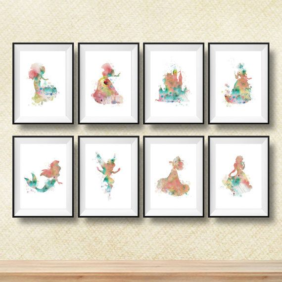 Set van 8 Disney Print prinses Print prinses silhouet Wall