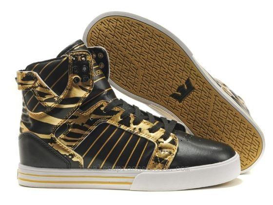 429a70a44fb6 Supra High Tops Black Gold