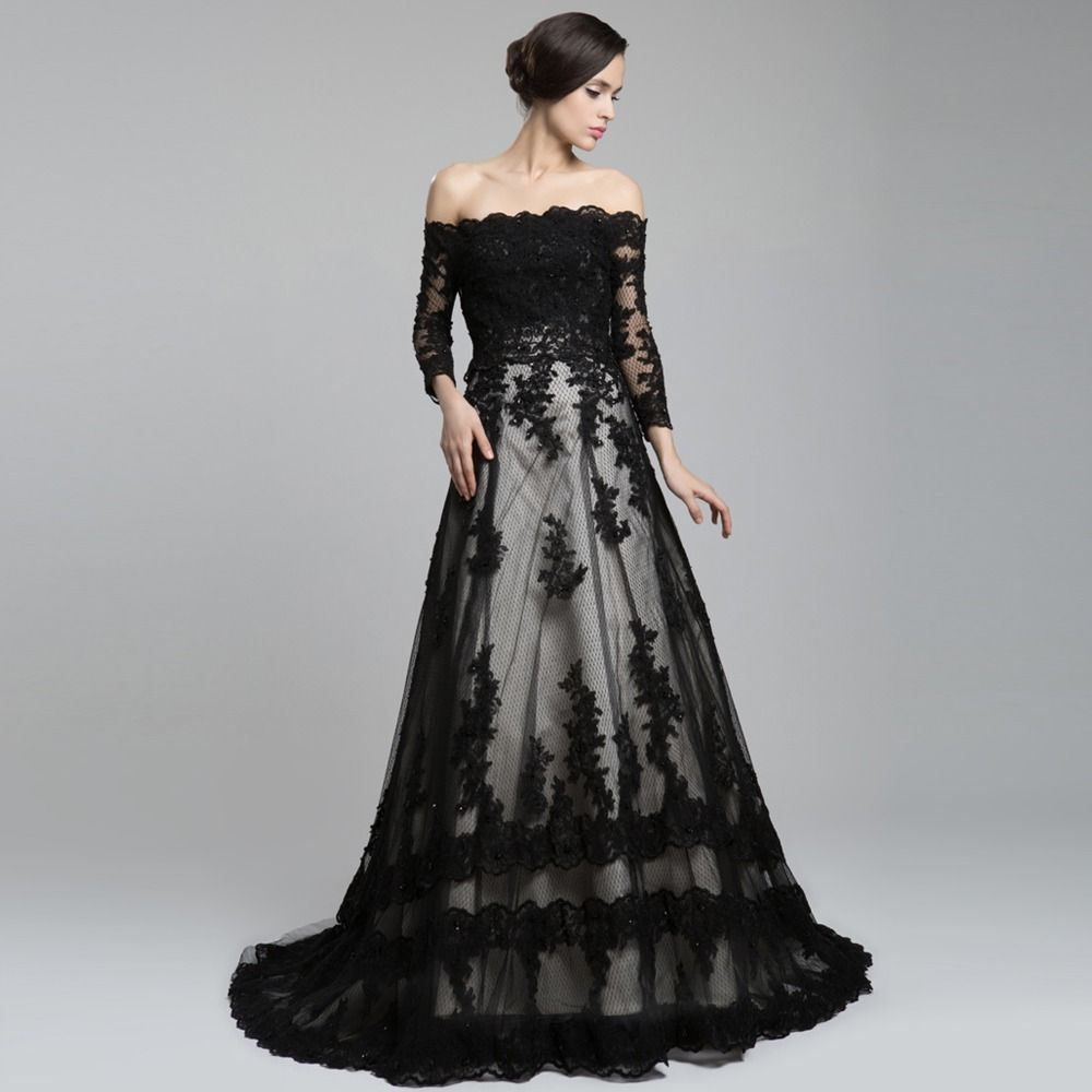 wedding dresses black Off The Shoulder Long Sleeve Lace Long Train A Line Wedding Dress Black