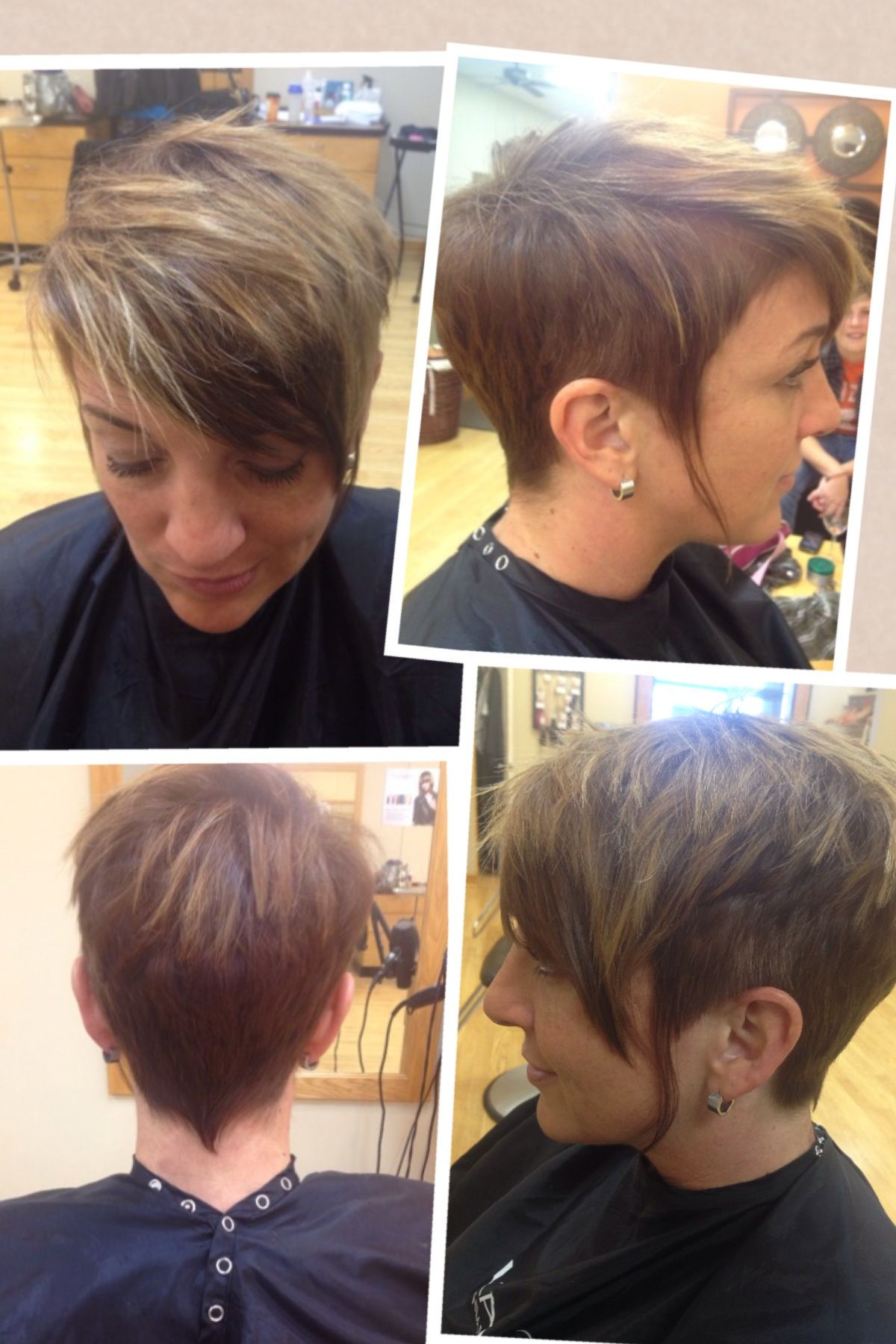 Undercut pixie, dark golden brown base with balayage highlights