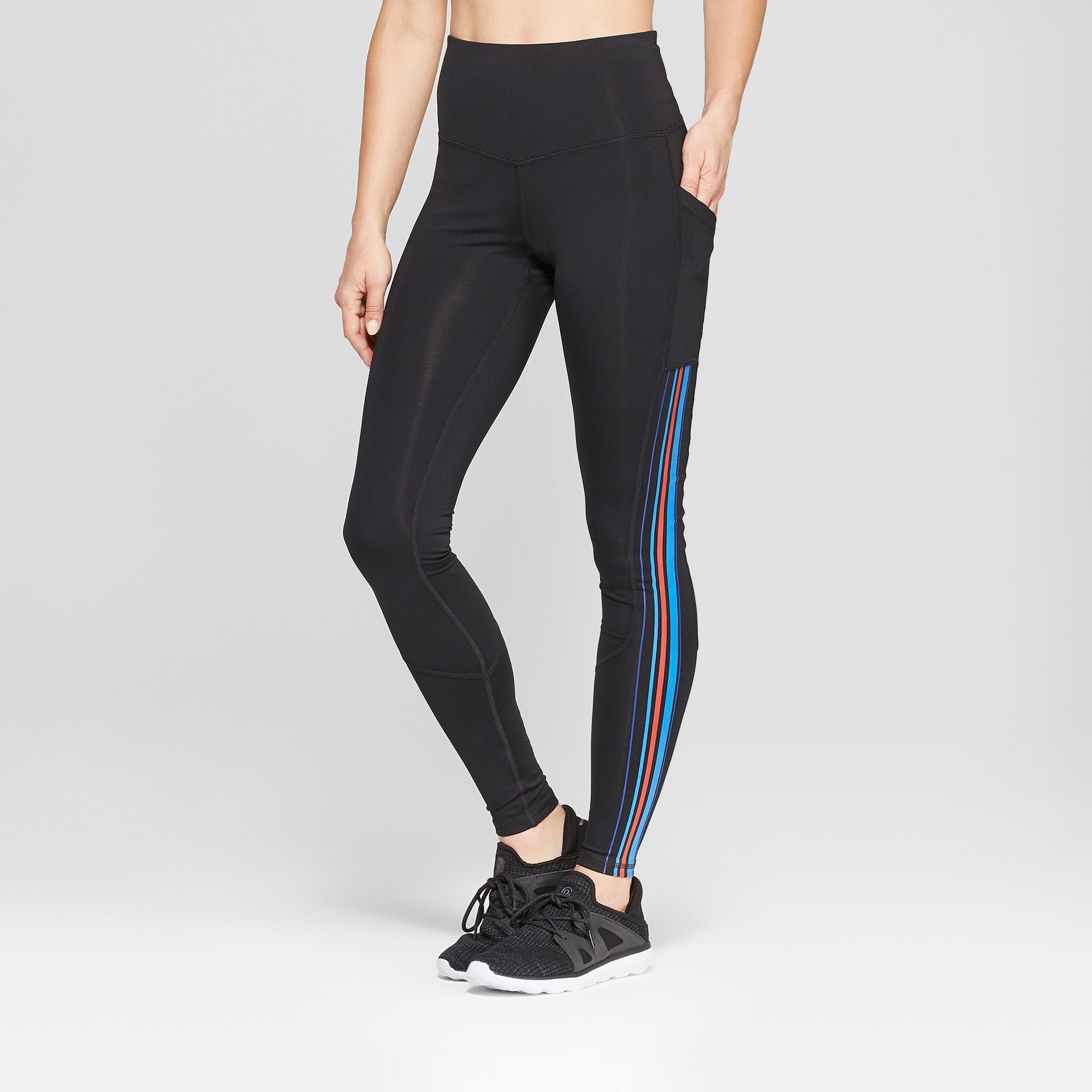 ae1c83c743b1 Women s Striped Training High-Waisted Leggings 28.5 - C9 Champion Black XS