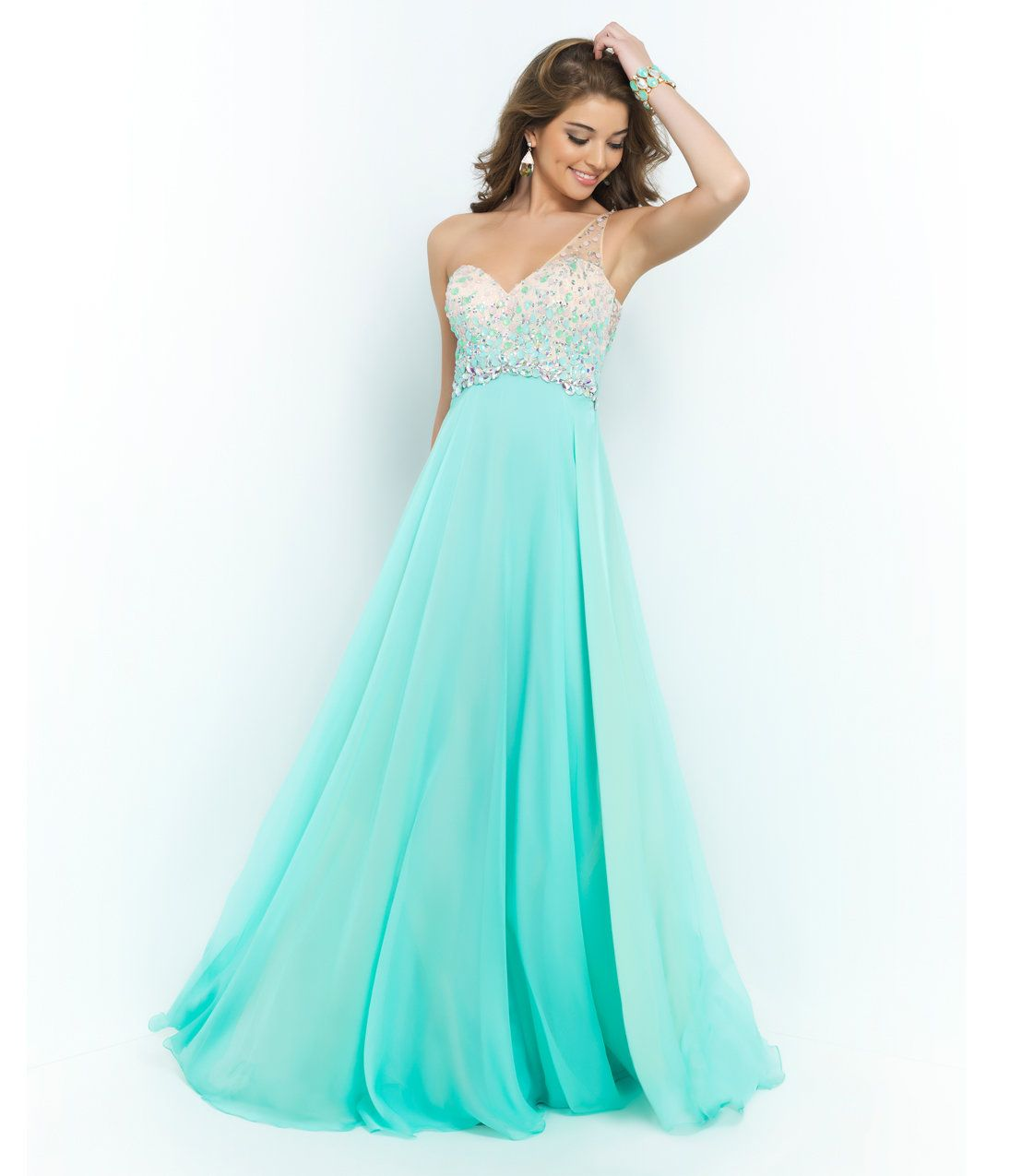 Unique Vintage Blush Prom Sea Glass Green Beaded Ombre One Shoulder ...