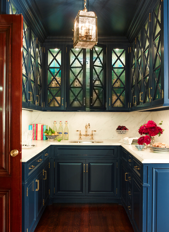 Butler\'s pantry with navy blue cabinets and brass hardware -- Ashley ...