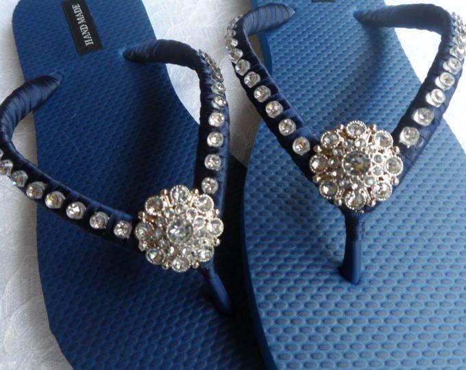 Moonlight Wedding Flip Flops Gray satin with Rhinestone and Pearls
