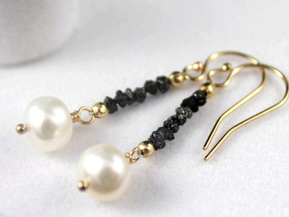 Rough Diamond Pearl Earrings – Mother's Day Gift – 14K Gold Filled – Black Raw Diamonds – White Freshwater Pearls – April Birthstone