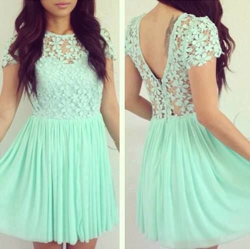 Mint Green Homecoming Dresslace Prom Dresseschiffon