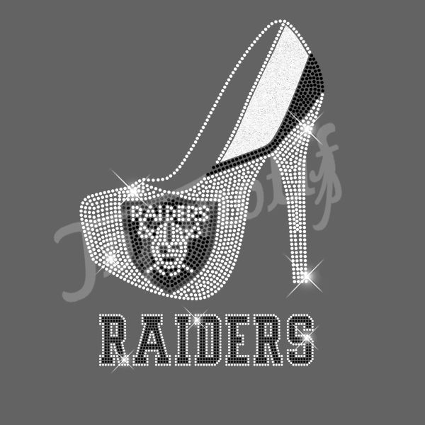 0b38e14e Raiders with high heel Rhinestone Iron On T-Shirt Transfer | Sports ...