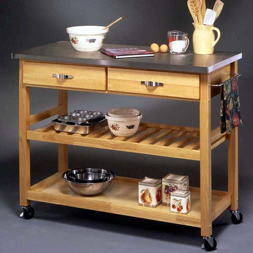 Stainless Steel Top Kitchen Island Counter Height Utility: Features: -Heavy Gauge Stainless Steel Top. -2 Utility