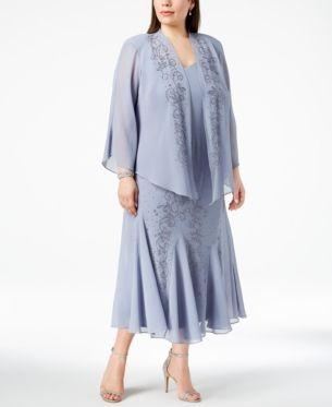 73cf3e50 R&M Richards Plus Size Beaded V-Neck Dress and Jacket - Purple 14W ...
