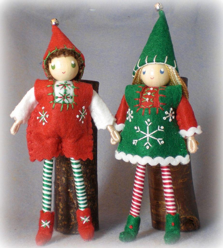 Large 6 inch Kindness Elf bendy dolls.  Christmas Elves.  Handmade by PNTdolls.com