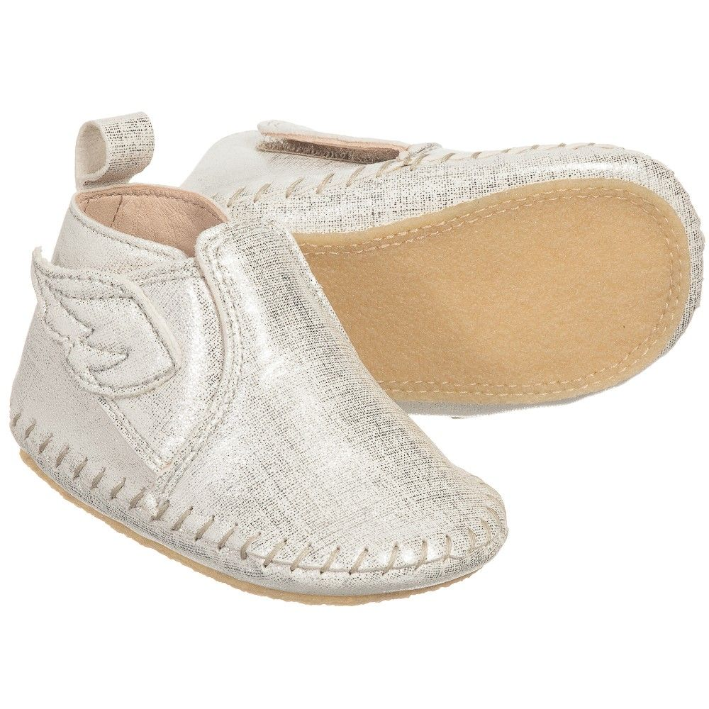 Easy Peasy - Silver Leather 'Bomok' Slipper Shoes | Childrensalon