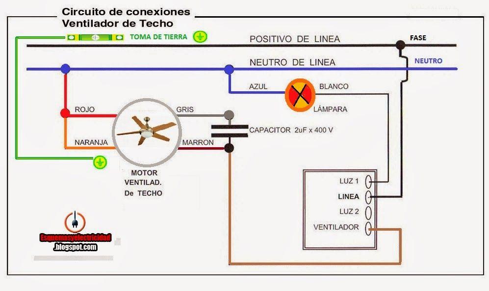 Esquemas el ctricos conexion ventilador techo tono - Instalacion de ventilador de techo ...