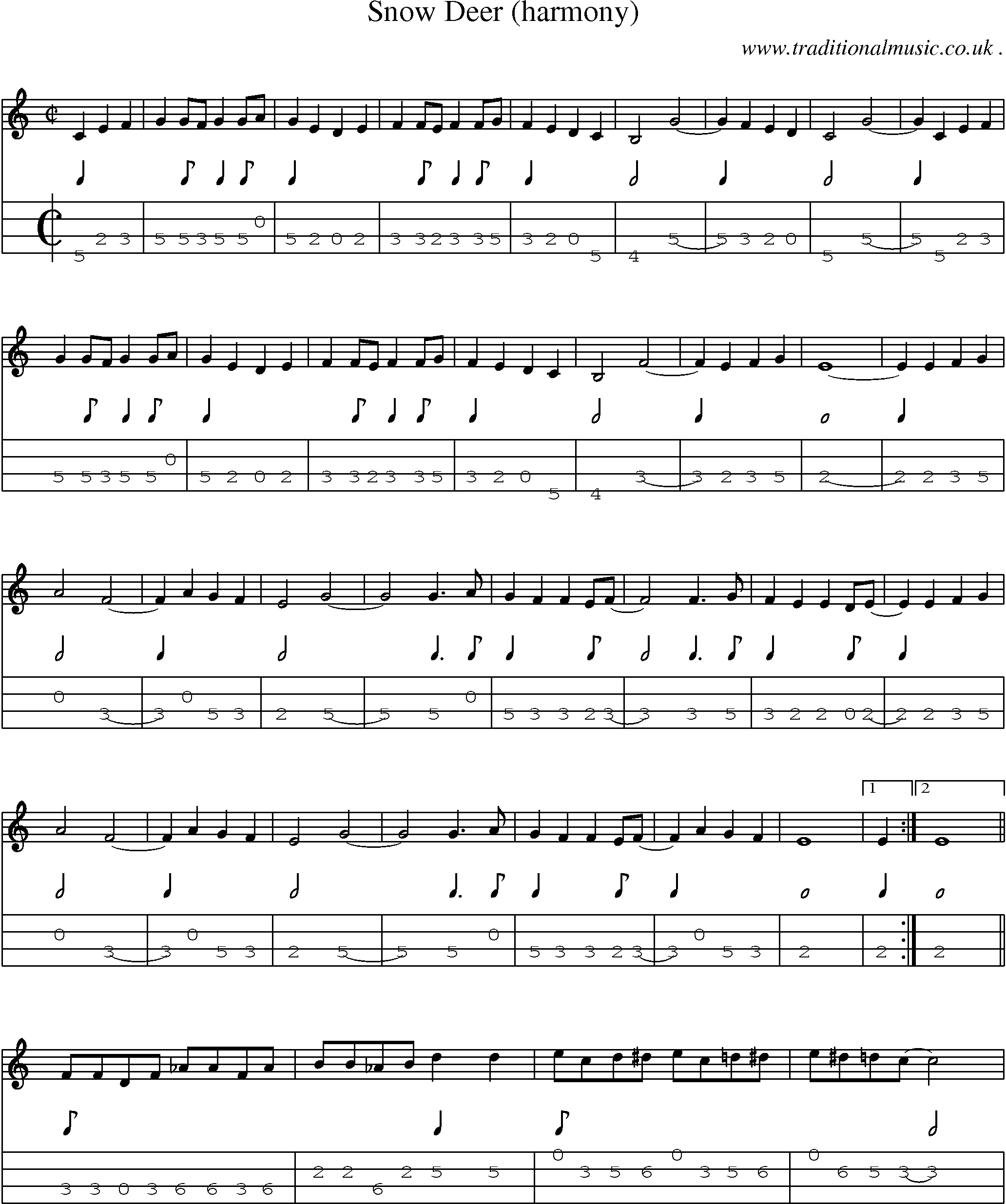 Music Score And Mandolin Tabs For Snow Deer Harmony Sheet Music