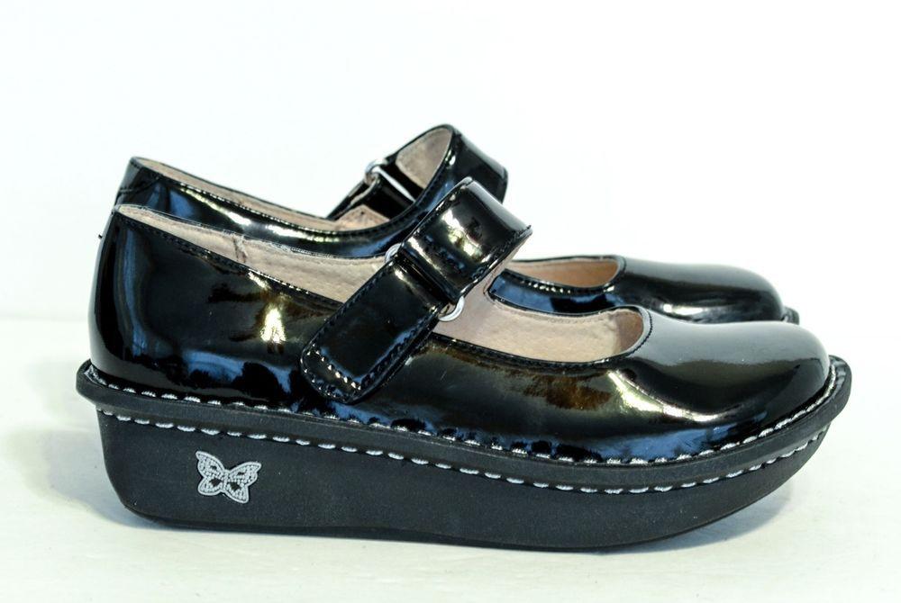 ALEGRIA PALOMA BLACK AND WHITE LACE DETAIL Sz 7 Mary Jane Shoes EUC