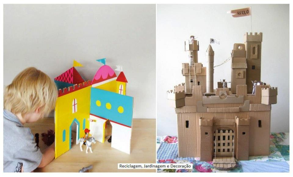 Proposta interessante para o final-de-semana:  Papelão, papéis coloridos, tintas, canetinhas!   Com as crianças, fazerem castelos... reutilizando o que tiverem disponível, criatividade e momentos de companheirismo! (:  Como Fazer e molde:  http://mermag.blogspot.com.br/2012/05/interlocking-cardboard-castle-diy.html    Fonte 2:  http://annwood.net/blog/2008/04/22/cardboard-castle/