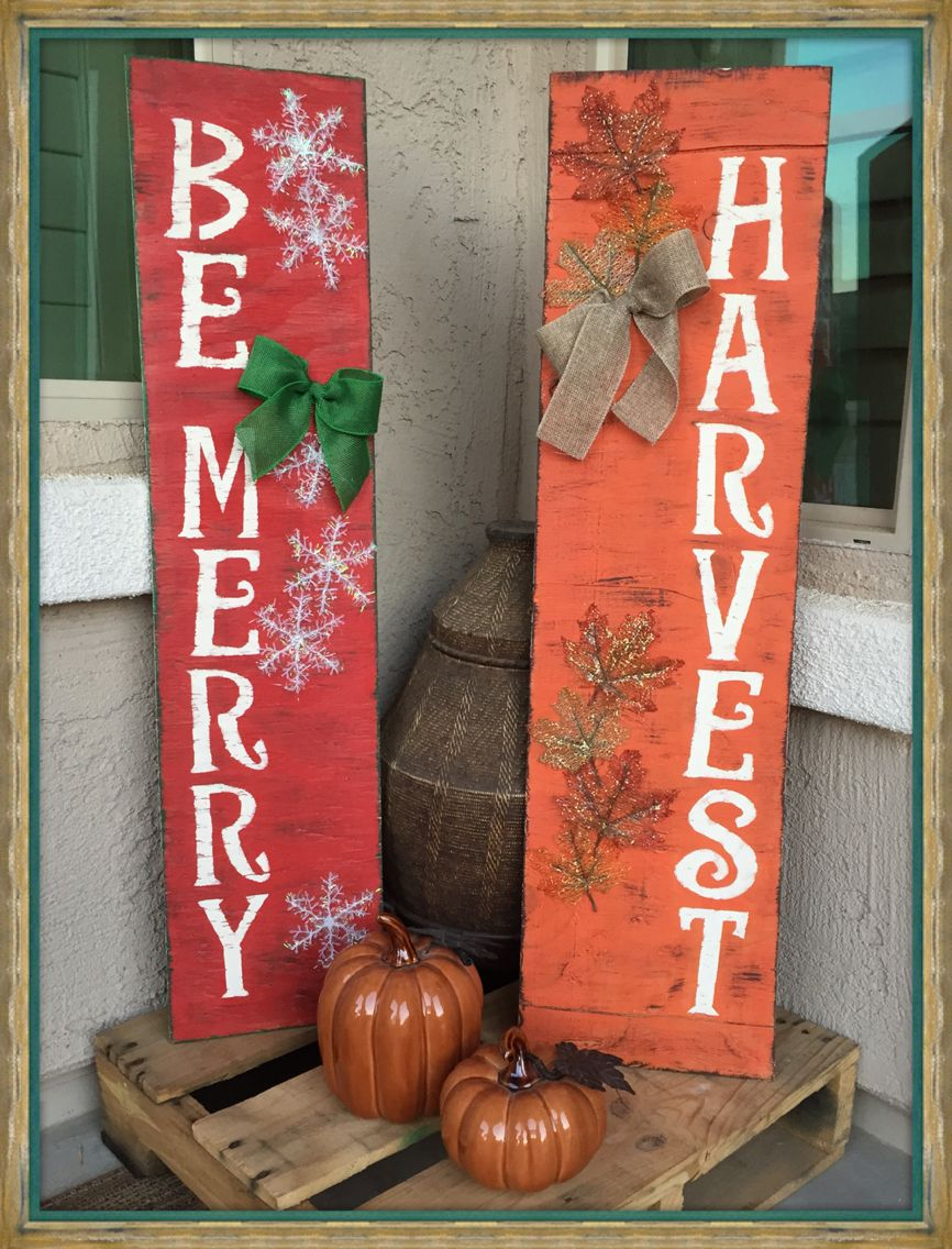 Christmas Sign Decorations Reversible Fall And Christmas Sign  Boardsfront Door