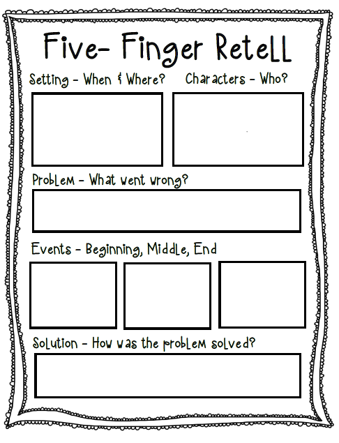 Five-Finger Retell Poster + Worksheet | First grade reading ...
