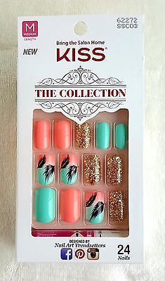 Kiss 24 Glue On Nails Feather Coral Mint Glitter Collection Medium