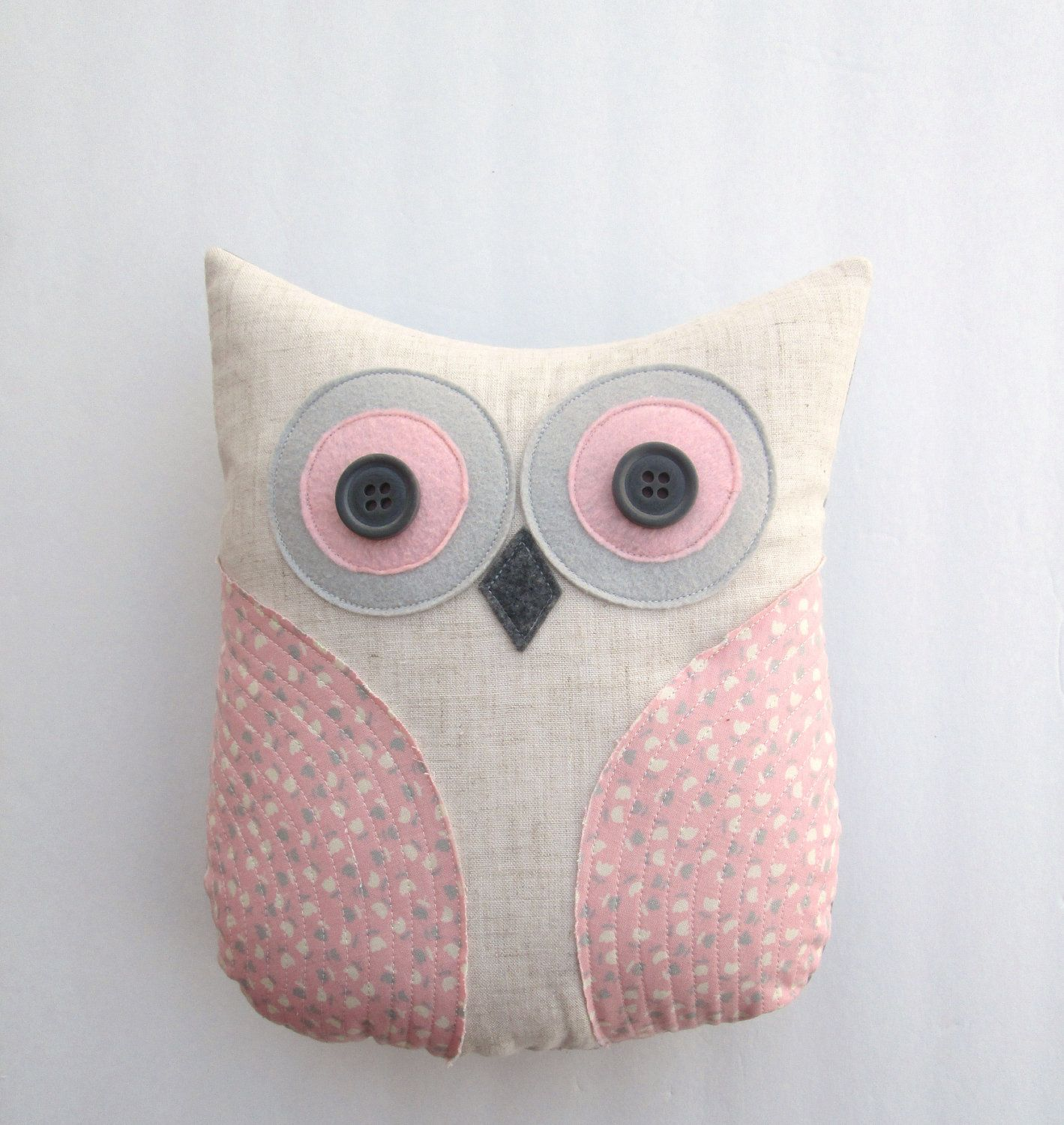 pastel pink owl pillow, decorative pink, grey and white owl, girly ...