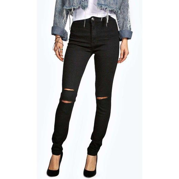 Lara ripped knee super skinny tube jeans