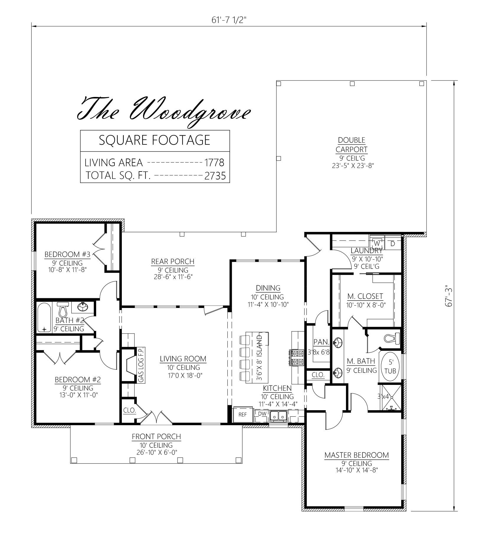 Craftsman Style House Plans 1905 Square Foot Home 1 Story 3 Bedroom And 2 Bath 2 Ga Home Design Floor Plans House Floor Plans Craftsman Style House Plans