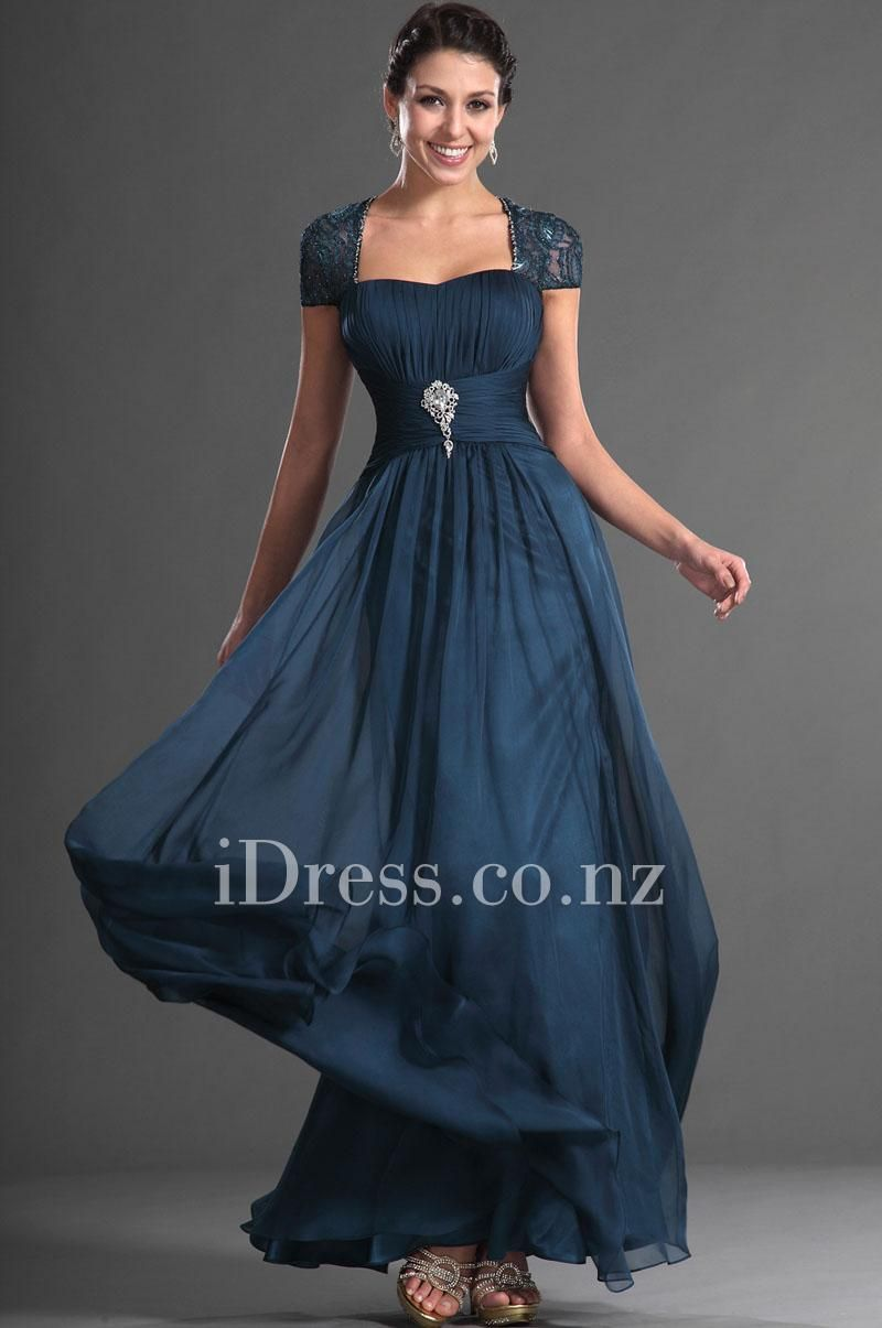1f6c5b6f Navy Cap Sleeves Queen Anne Long Chiffon A-line Evening Dress with Crystal