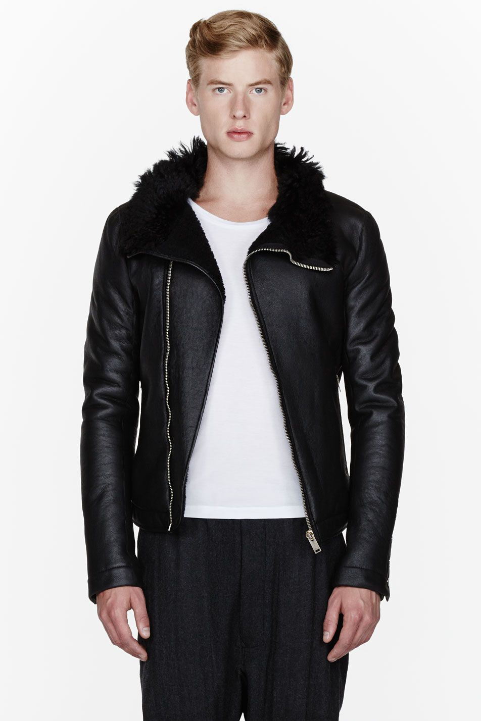 RICK OWENS // Black leather and shearling jacket 32232M032003 Long sleeve  thick leather jacket in