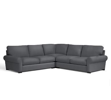 Turner Roll Arm Upholstered 3-Piece L-Shaped Corner Sectional, Down Blend Wrapped Cushions, Linen Blend Gunmetal Gray