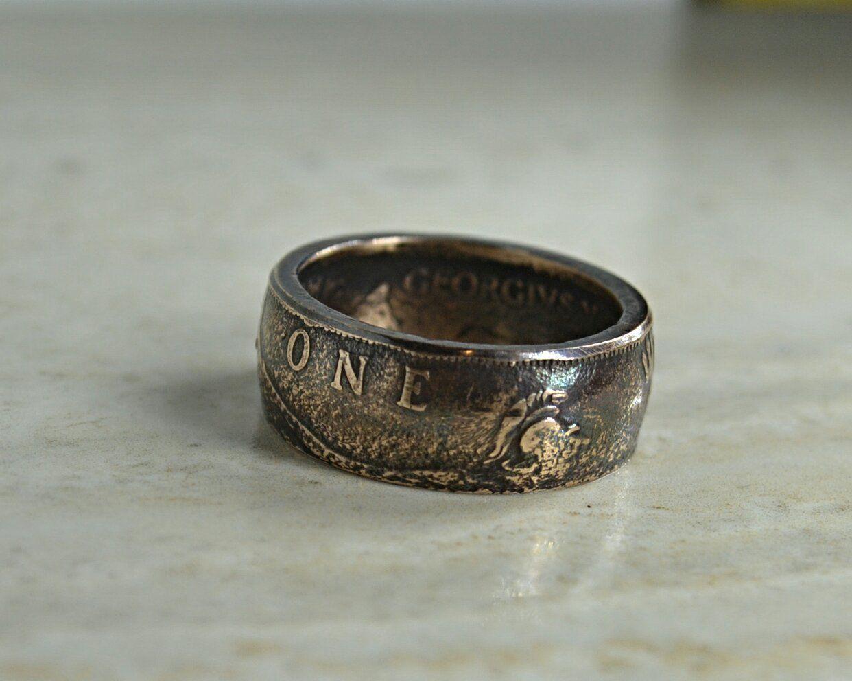 coin ring on finger